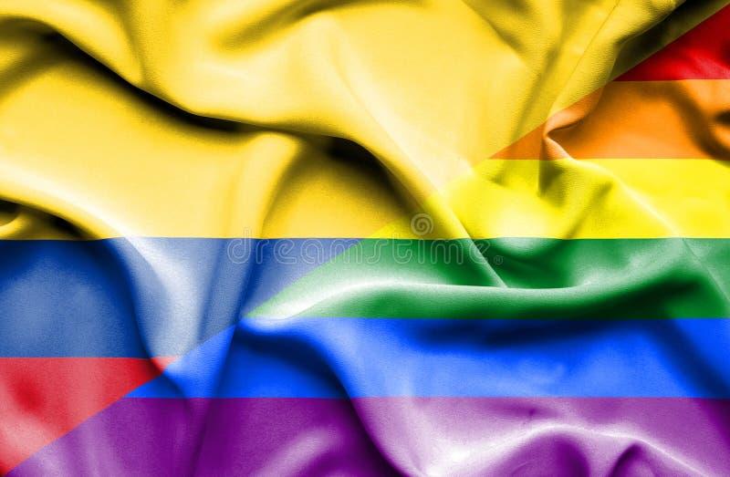 Vinkande flagga av LGBT och Columbia stock illustrationer
