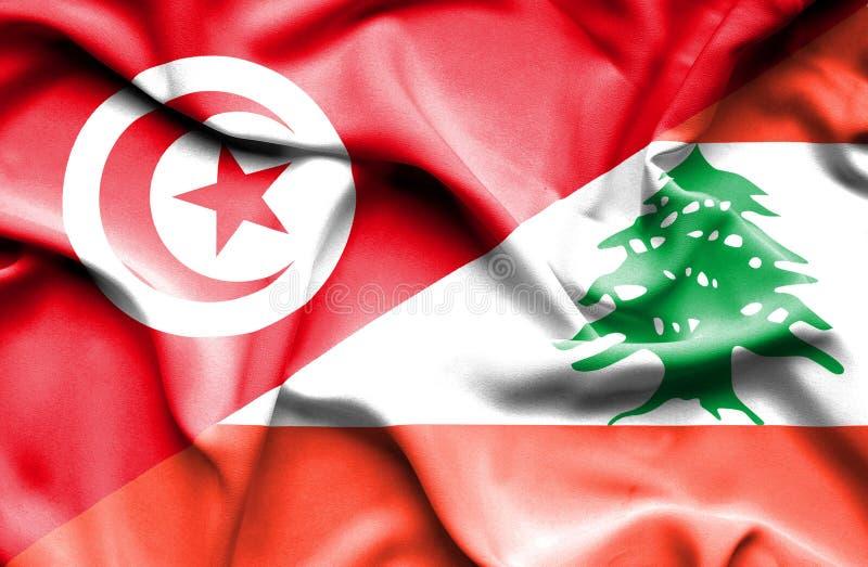 Vinkande flagga av Libanon och Tunisien vektor illustrationer