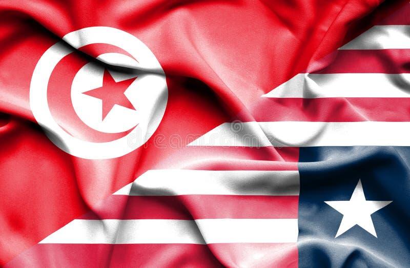 Vinkande flagga av Liberia och Tunisien stock illustrationer