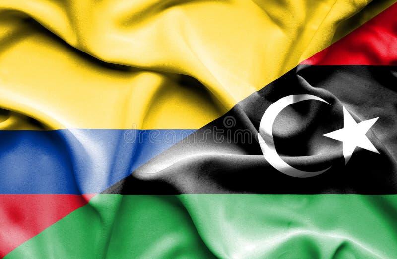 Vinkande flagga av Libyen och Columbia stock illustrationer