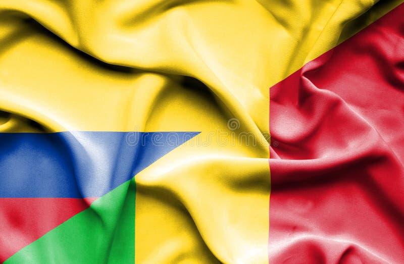 Vinkande flagga av Mali och Columbia stock illustrationer