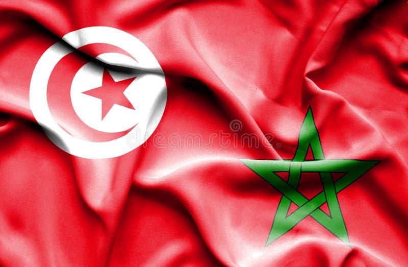 Vinkande flagga av Marocko och Tunisien stock illustrationer