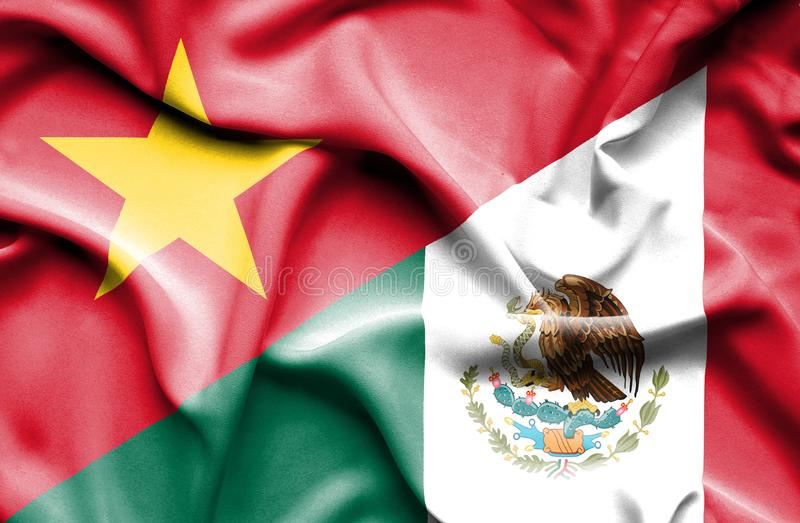 Vinkande flagga av Mexico och Vietnam royaltyfri illustrationer