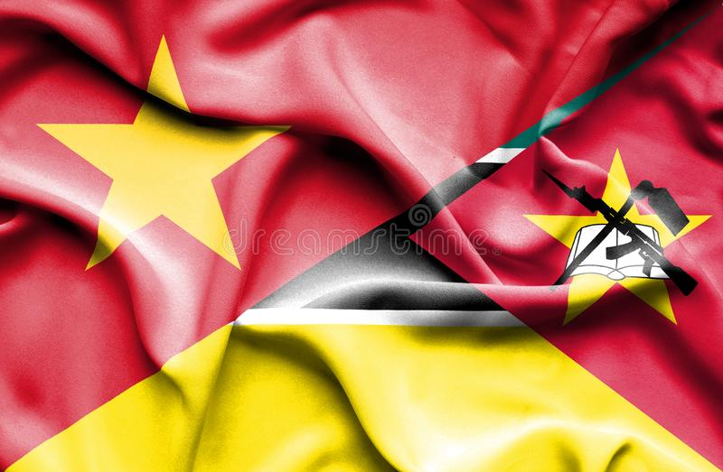 Vinkande flagga av Mocambique och Vietnam royaltyfri illustrationer