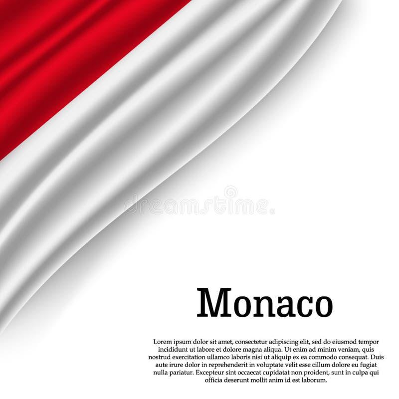 Vinkande flagga av Monaco stock illustrationer