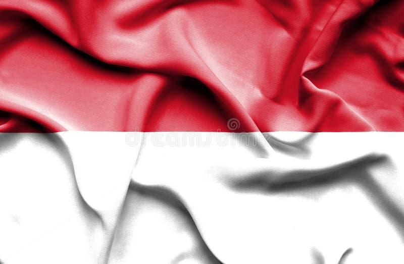 Vinkande flagga av Monaco och Indonesien stock illustrationer