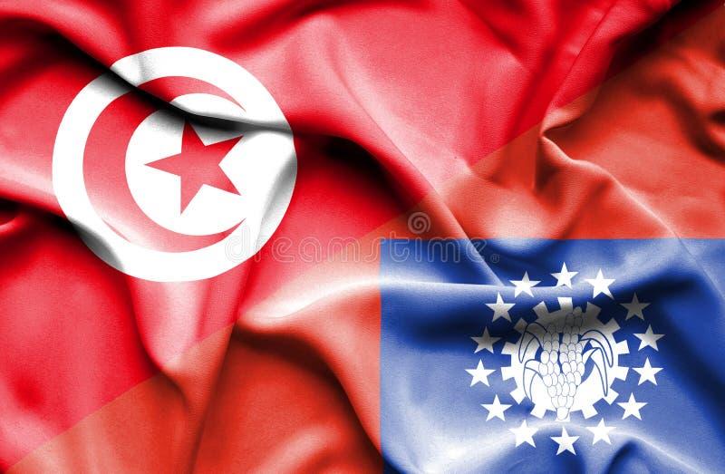 Vinkande flagga av Myanmar och Tunisien royaltyfri illustrationer