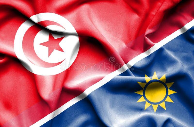 Vinkande flagga av Namibia och Tunisien royaltyfri illustrationer