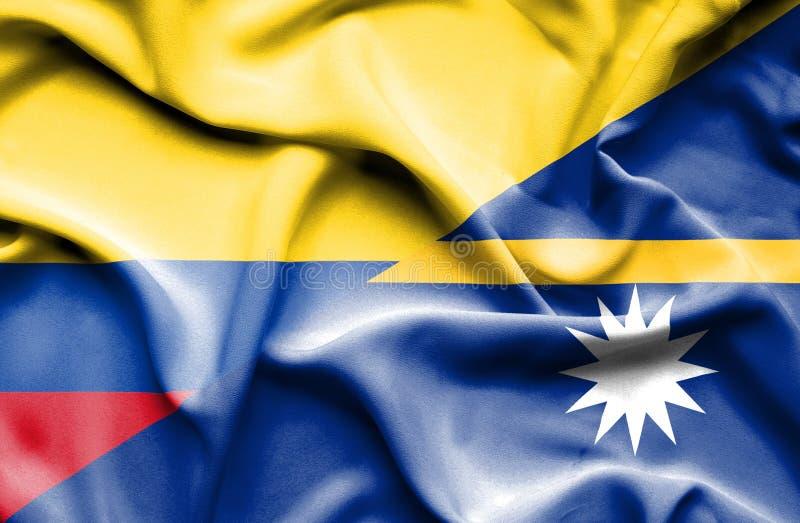 Vinkande flagga av Nauru och Columbia royaltyfri illustrationer