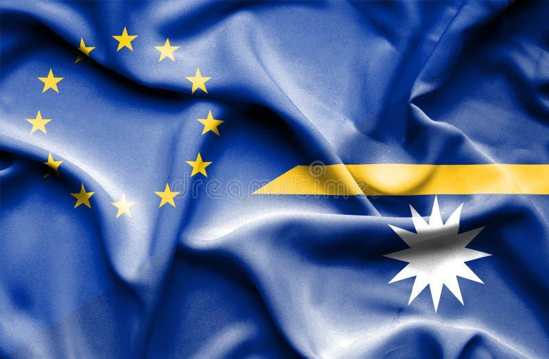 Vinkande flagga av Nauru och EU fotografering för bildbyråer