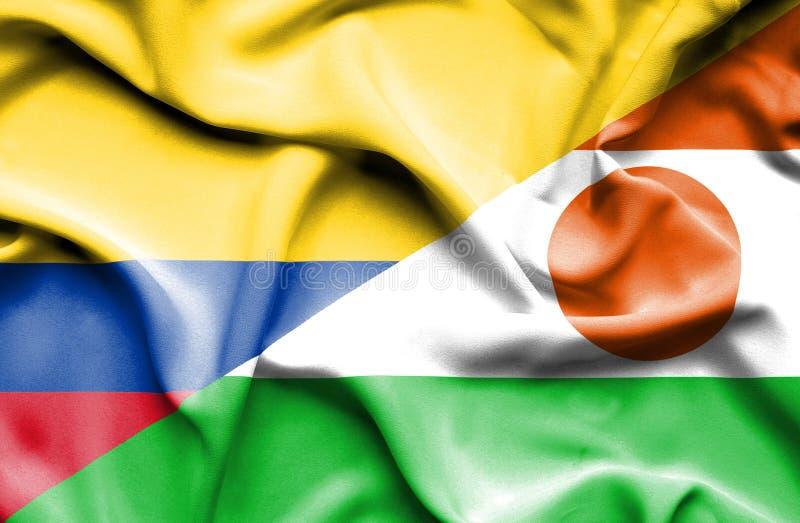 Vinkande flagga av Niger och Columbia vektor illustrationer