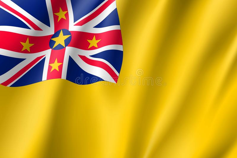 Vinkande flagga av niue royaltyfri illustrationer