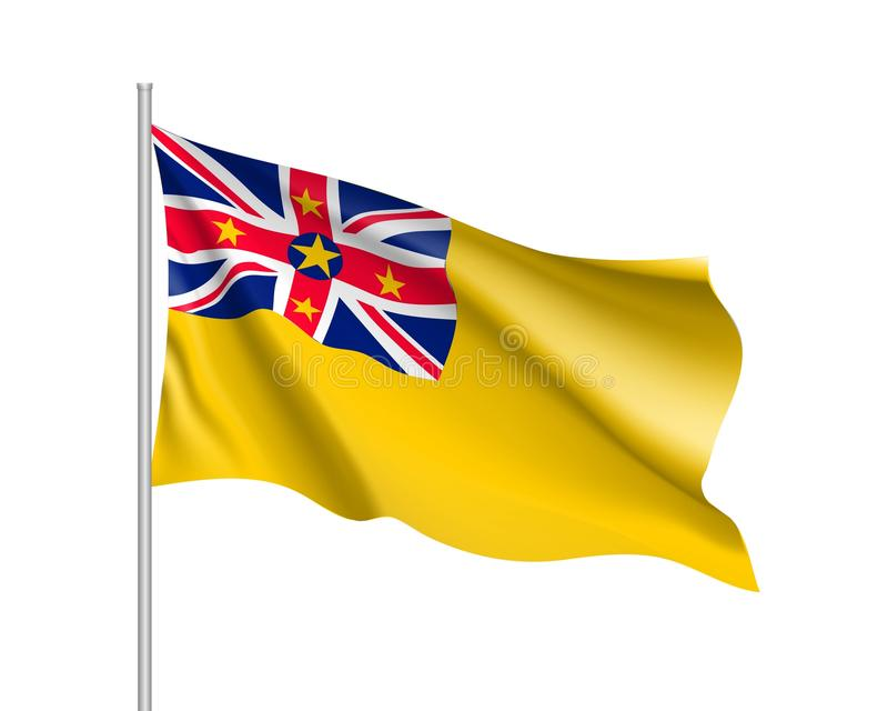 Vinkande flagga av niue stock illustrationer