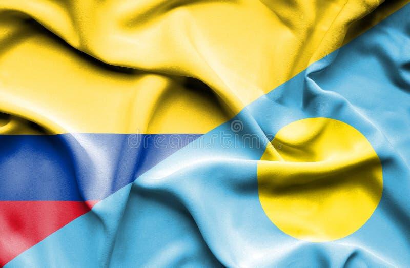 Vinkande flagga av Palau och Columbia royaltyfri illustrationer