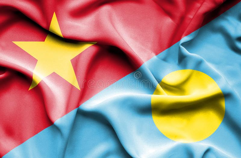 Vinkande flagga av Palau och Vietnam stock illustrationer