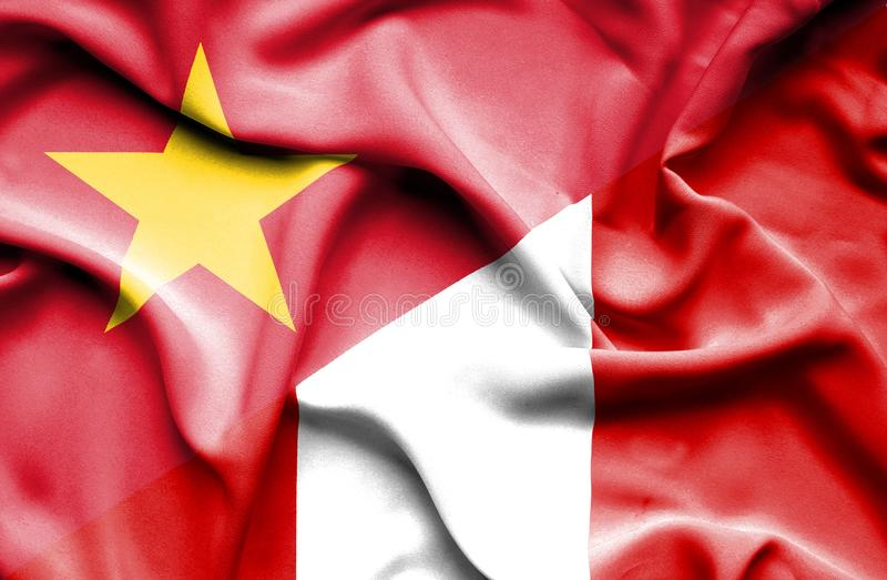 Vinkande flagga av Peru och Vietnam stock illustrationer