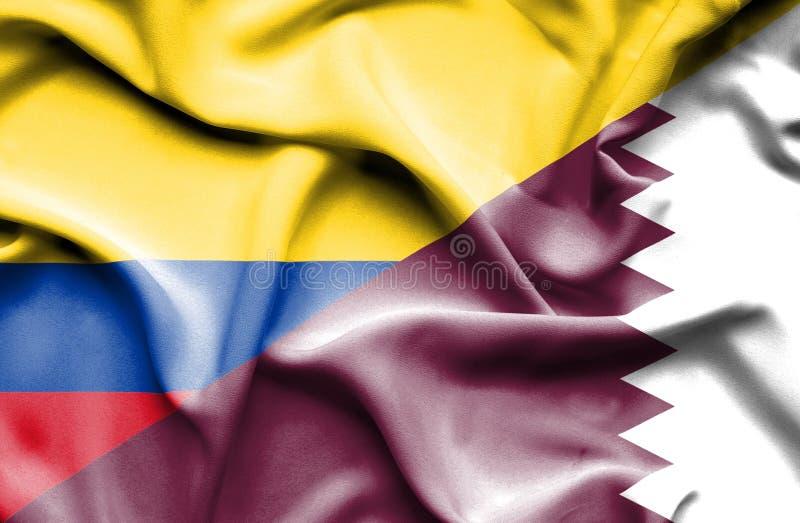 Vinkande flagga av Qatar och Columbia stock illustrationer