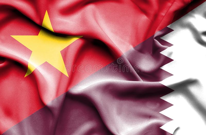 Vinkande flagga av Qatar och Vietnam stock illustrationer