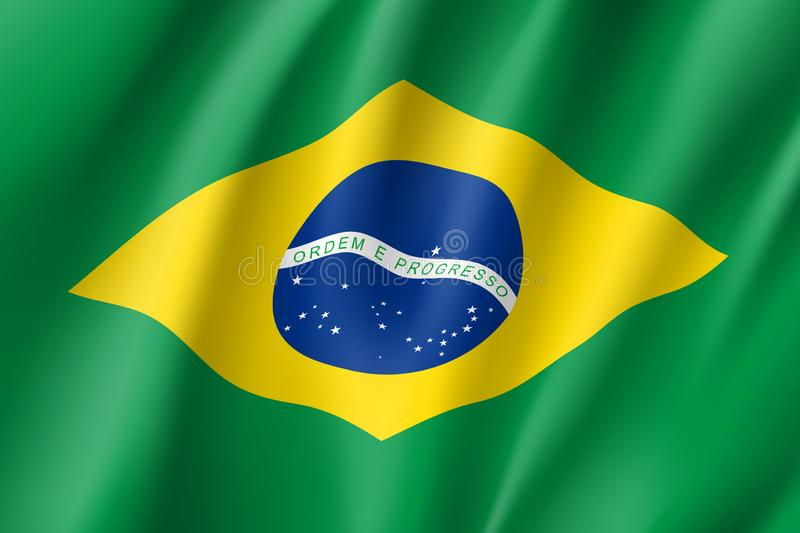 Vinkande flagga av republiken Brasilien royaltyfri illustrationer