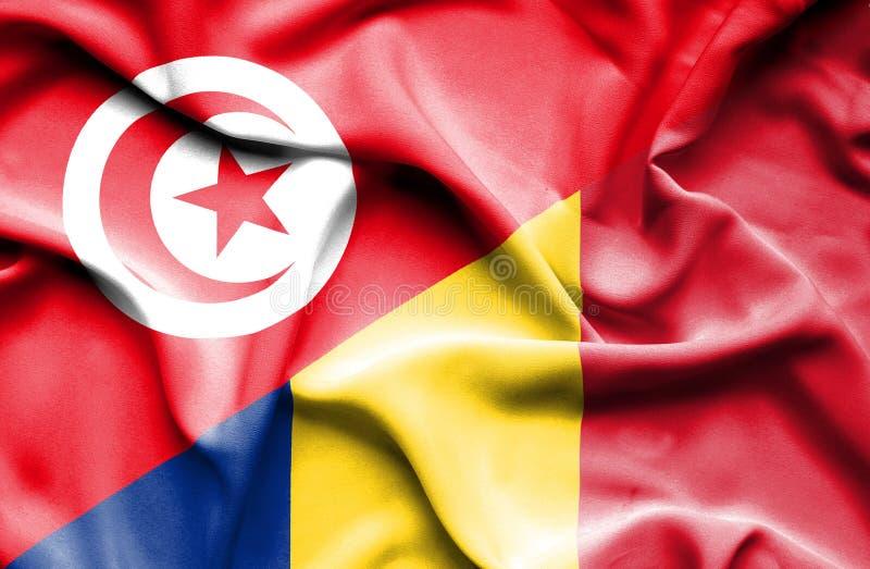 Vinkande flagga av Rumänien och Tunisien stock illustrationer