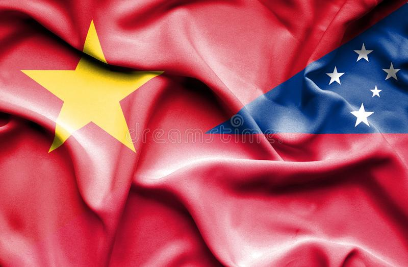 Vinkande flagga av Samoa och Vietnam stock illustrationer