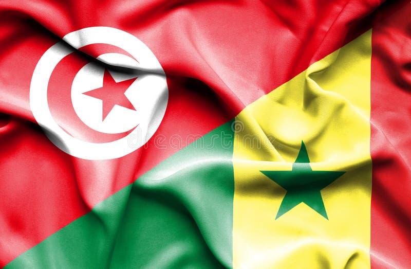 Vinkande flagga av Senegal och Tunisien royaltyfri illustrationer