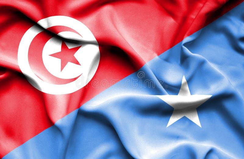 Vinkande flagga av Somalia och Tunisien stock illustrationer