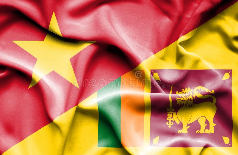 Vinkande flagga av Sri Lanka och Vietnam stock illustrationer