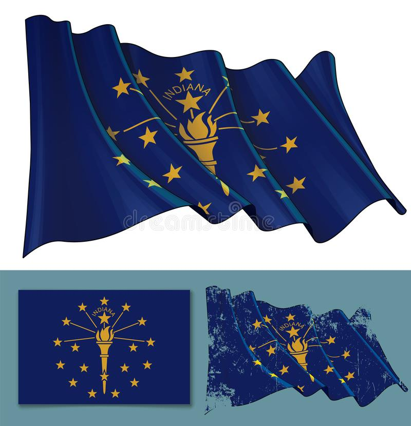 Vinkande flagga av staten av Indiana stock illustrationer