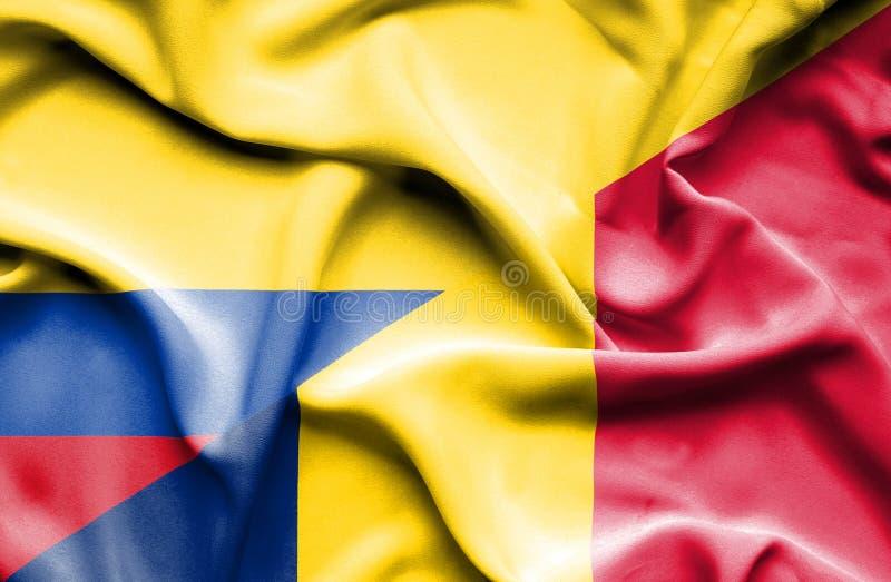 Vinkande flagga av Tchad och Columbia royaltyfri illustrationer