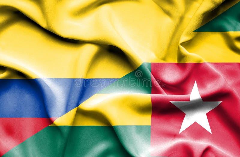 Vinkande flagga av Togo och Columbia vektor illustrationer