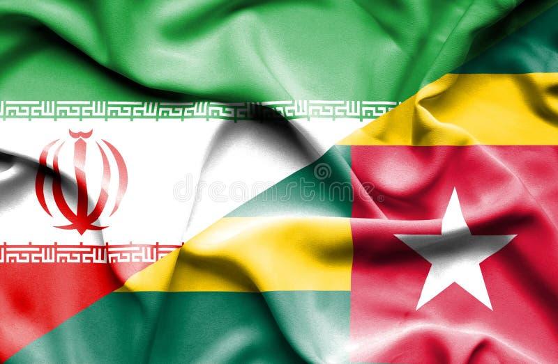 Vinkande flagga av Togo och Iran vektor illustrationer