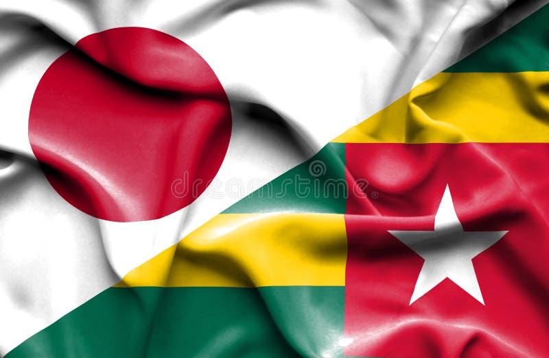 Vinkande flagga av Togo och Japan vektor illustrationer