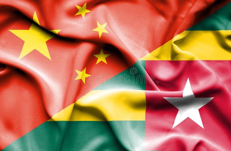 Vinkande flagga av Togo och Kina stock illustrationer