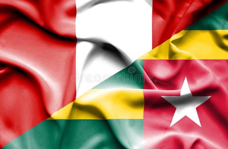 Vinkande flagga av Togo och Peru stock illustrationer