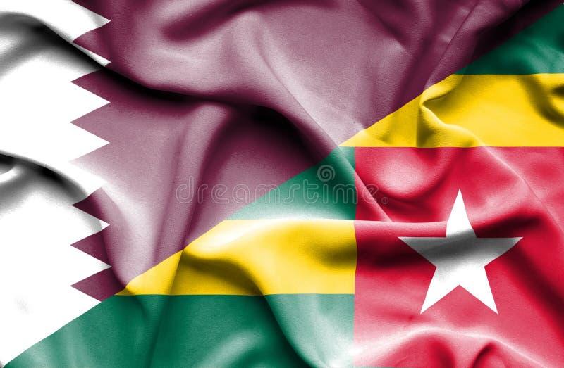 Vinkande flagga av Togo och Qatar royaltyfri illustrationer