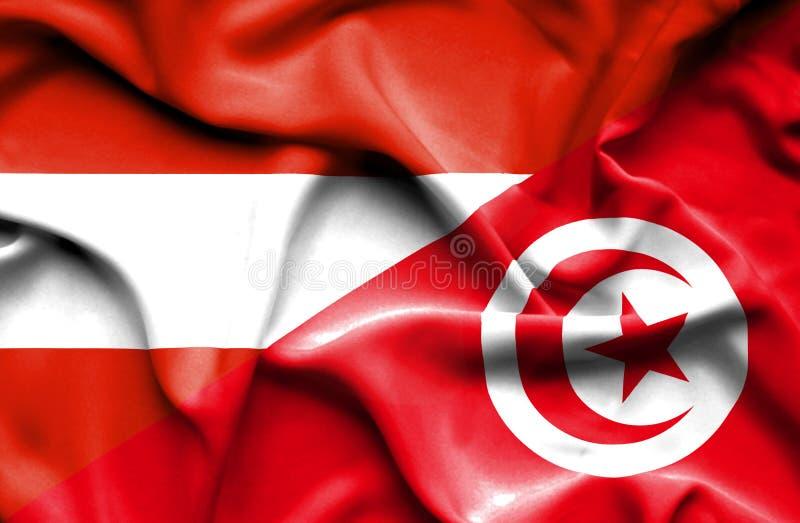 Vinkande flagga av Tunisien och Österrike vektor illustrationer