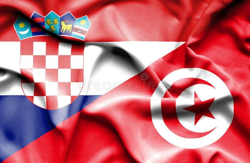 Vinkande flagga av Tunisien och Kroatien royaltyfri illustrationer