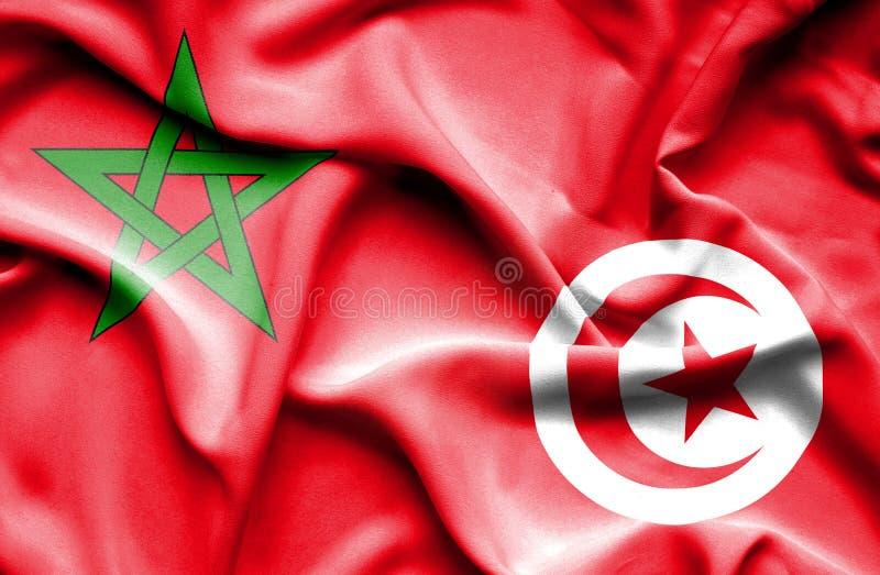 Vinkande flagga av Tunisien och Marocko vektor illustrationer
