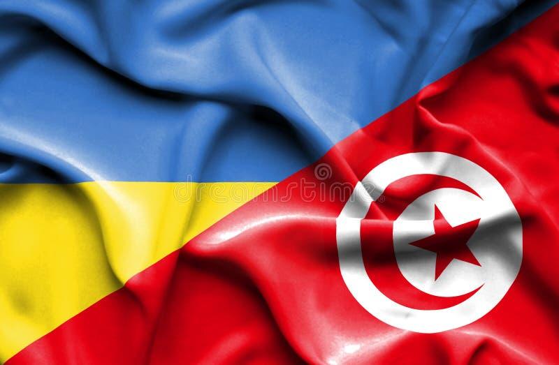 Vinkande flagga av Tunisien och Ukraina vektor illustrationer