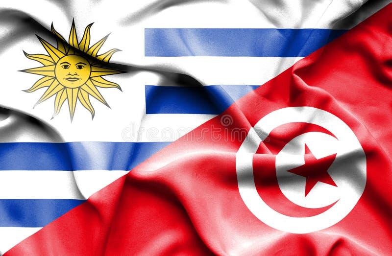 Vinkande flagga av Tunisien och Uruguay stock illustrationer