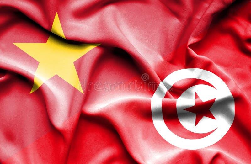 Vinkande flagga av Tunisien och Vietnam royaltyfri illustrationer