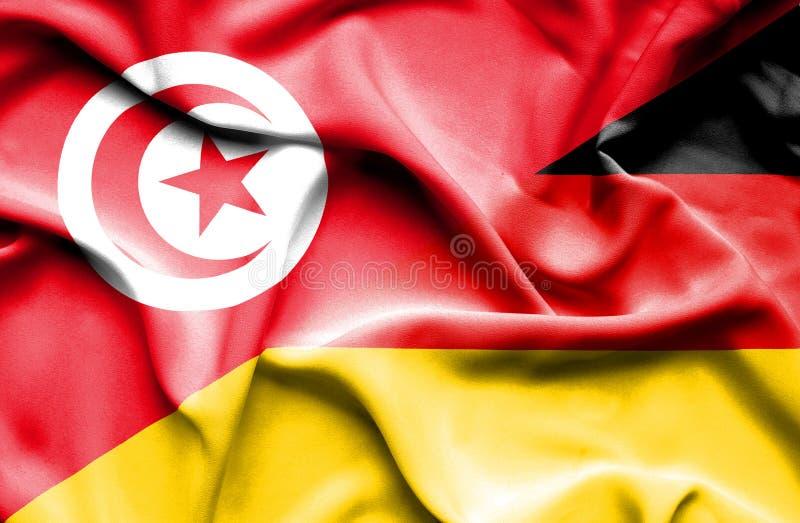 Vinkande flagga av Tyskland och Tunisien royaltyfri illustrationer