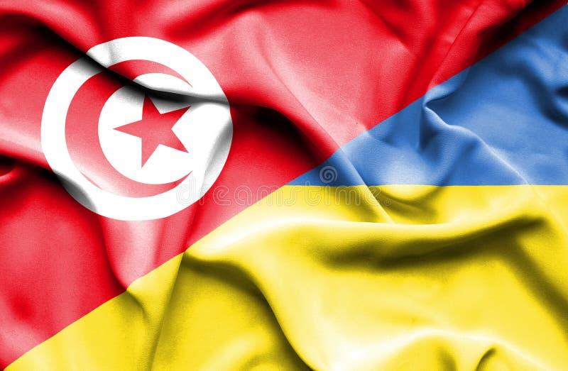 Vinkande flagga av Ukraina och Tunisien vektor illustrationer