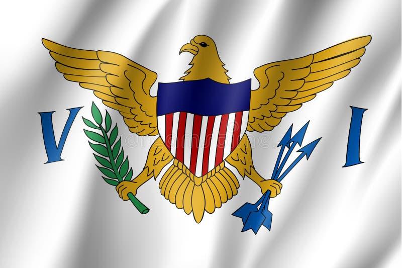 Vinkande flagga av United States Virgin Islands royaltyfri illustrationer