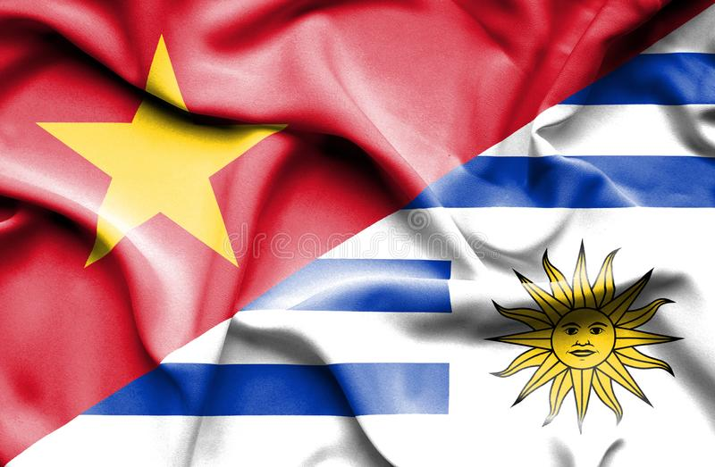 Vinkande flagga av Uruguay och Vietnam stock illustrationer
