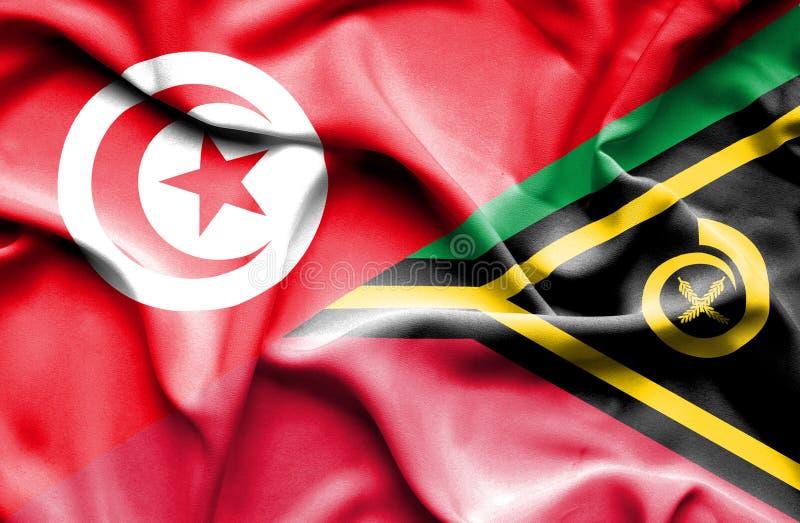 Vinkande flagga av Vanuatu och Tunisien vektor illustrationer