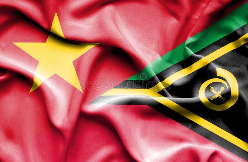 Vinkande flagga av Vanuatu och Vietnam royaltyfri fotografi