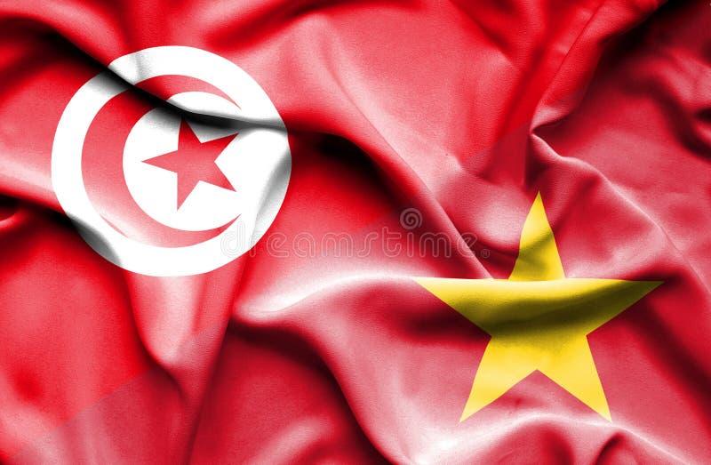 Vinkande flagga av Vietnam och Tunisien vektor illustrationer