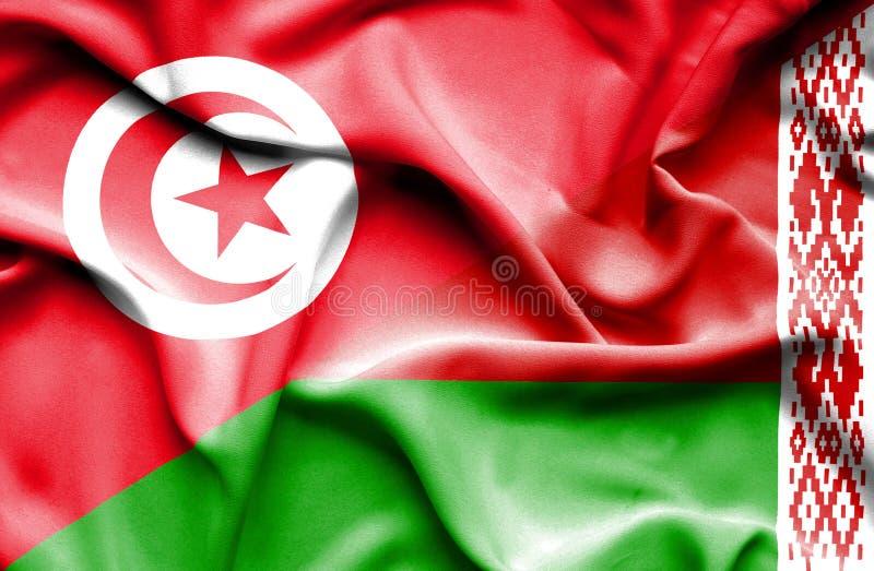 Vinkande flagga av Vitryssland och Tunisien vektor illustrationer